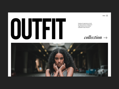 Outfit fashion webshop store branding typography design web header ux ui minimal