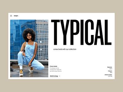 Typical fashion webshop branding typography design web header ux ui minimal