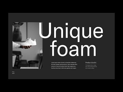 Eunique foam shop webshop fashion shoe design typography branding web header ux ui minimal