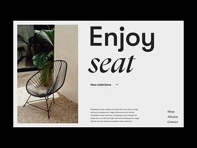 Enjoy seat chair grid typography store shop branding design web header ux ui minimal
