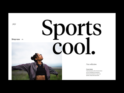 Sport cool. fashion shop webdesign branding typography header ux ui minimal