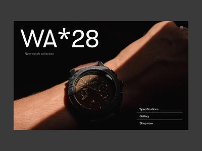 Watch store store webshop watch branding typography design web header ux ui minimal