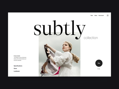 Subtly collection clothes store webshop fashion branding typography design web header ux ui minimal