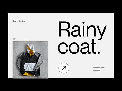 Rainy coat webshop shop branding typography design web header ux ui minimal