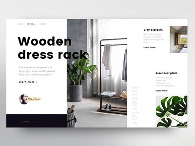 Wooden dress rack architect typography living interior webshop shop floor fashion black mobile white web header visual design graphic ui ux clean minimal