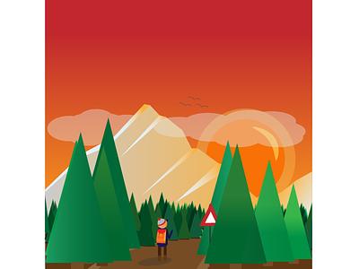 Adventurous hiker adventure birds sunset tree forrest vector mountain