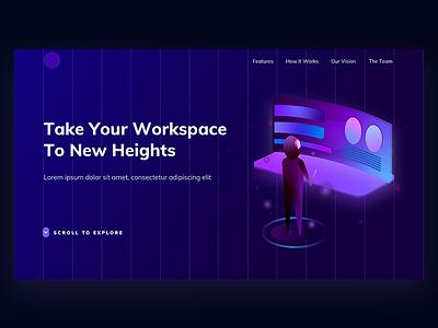 AR Landing Page augmented landing page landing web isometric illustration futur gradient virtual vr purple ar reality