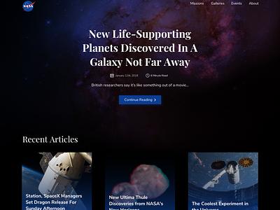 NASA Website Redesign typography showcase gradient sketch banner web ux ui landing page design minimal