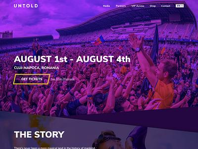 UNTOLD Festival Landing Page figma landing  page tickets design event black dark blue purple ux ui page landing