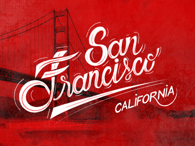 San Francisco font brush california francisco san hand flat design lettering