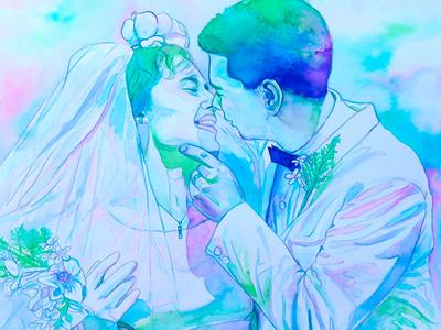 50th wedding anniversary watercolor portrait