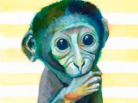 Nursery Monkey Watercolor Art Print Baby