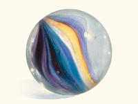 Watercolor glass marble art print - Batman fan art