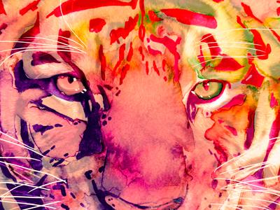Ferocious painting watercolor face tigger ferocious orange eyes wild pen