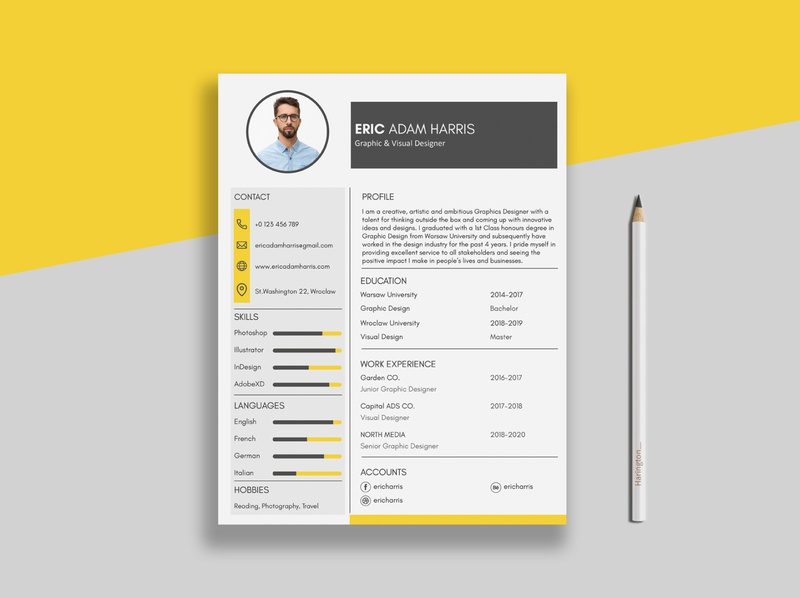 Yellow CV =) colors yellow resume design cv resume cv design