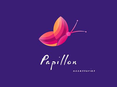 Papillon Logo branding accessories color graphic gift logo papillon
