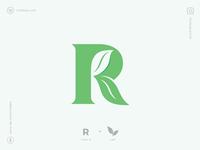 Letter R Logo lettering sale new initial logotype simple minimal designer logo designer logo design negative space branding icon logos plant green leafs r leaf logo