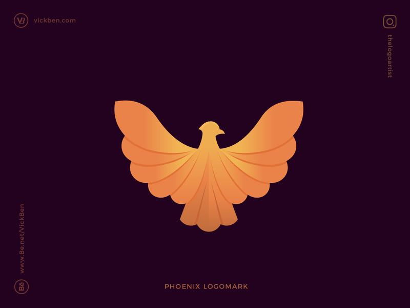 Phoenix Logo brandmark geometric modern new designer gradient colorful wings feather falcon eagle bird logo design design logo designer branding logo