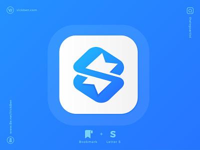 Bookmark Logo identity iphone new creative app logo blue icon design logo design designer app icon bookmarks whitespace negative space s bookmark logo designer branding logo
