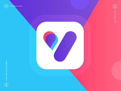 Vast Conference cloud logo designer logo design clean v branding logo creative identity logos initial letter rebranding share connection chat icon app social conference