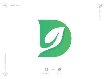 Letter D Logo modern new initial simple logo designer logo design designer minimal logotype negative space branding icon logos plants green leafs letter d leaf logo