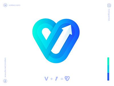 App Icon Design. app icon branding logo designer logo design logo designer initial type logos design logodesigner negativespace whitespace move icon up rise arrow v letter