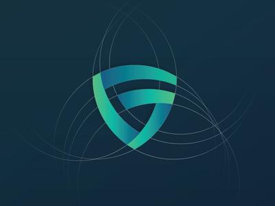 Monogram designer freelancer geometric logo creative icon shield colorful branding g guard protect