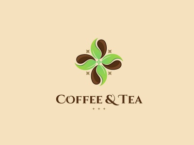 Coffee & Tea designer geometric freelancer logo bean creative icon leaf colorful branding tea coffee