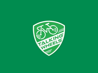 Talking Wheels design logo shield sport ride cycling green eco adventure wheels bicycle bike
