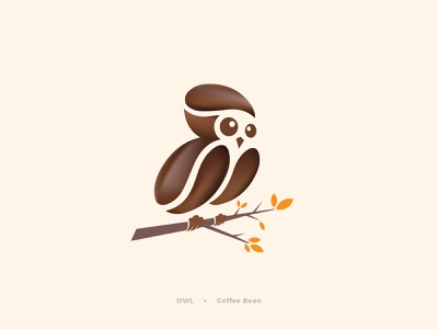 Owl bird art design logo vick mark symbol branding colorful vick ben awake wise coffee bean leaf branches coffee bean logo designer owl logo design