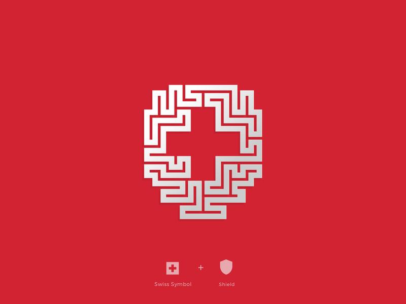 Swiss symbol geometric square white cross switzerland flag cross plus icon red brandmark vick ben logo designer swiss design swiss style logo shield security protection swiss