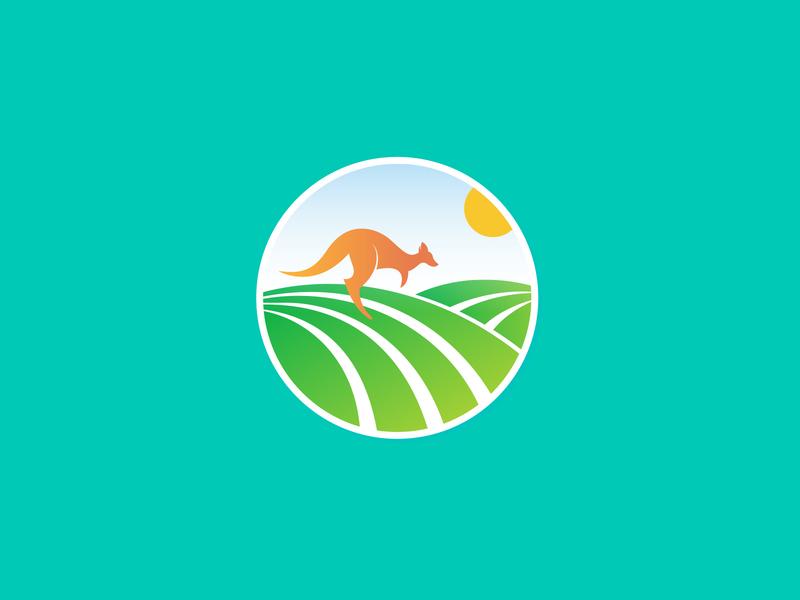 Australia harvest farm kangaroo colorful logo design logo designer vick ben agriculture hills landscapes designer branding logo nature summer eco green land country australia