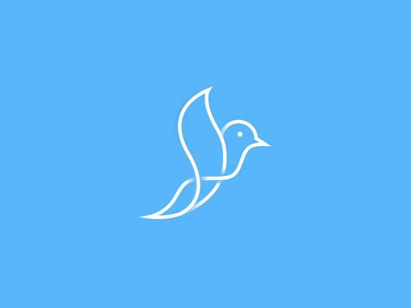 Bird symbol brandmark monoline minimal identity vick ben mark peace designer fly logo designer line art wings sale branding design logo bird animal abstact