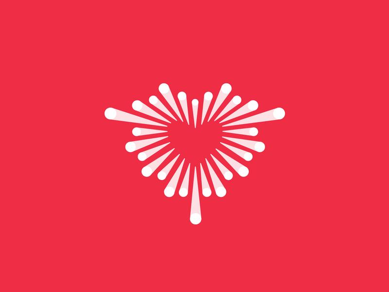 Love dating app cute mark brandmark geometric branding designer pink red design logo day valentine heart icon dot blend grow love