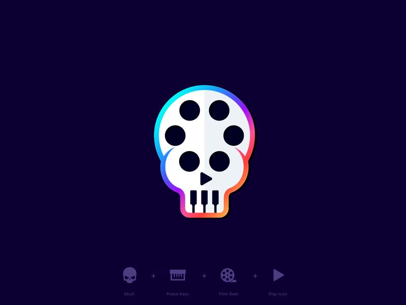 Skull motion logo design logo designer mark branding logos sound music film colorful designer logo icon play artist piano skull reel production movie