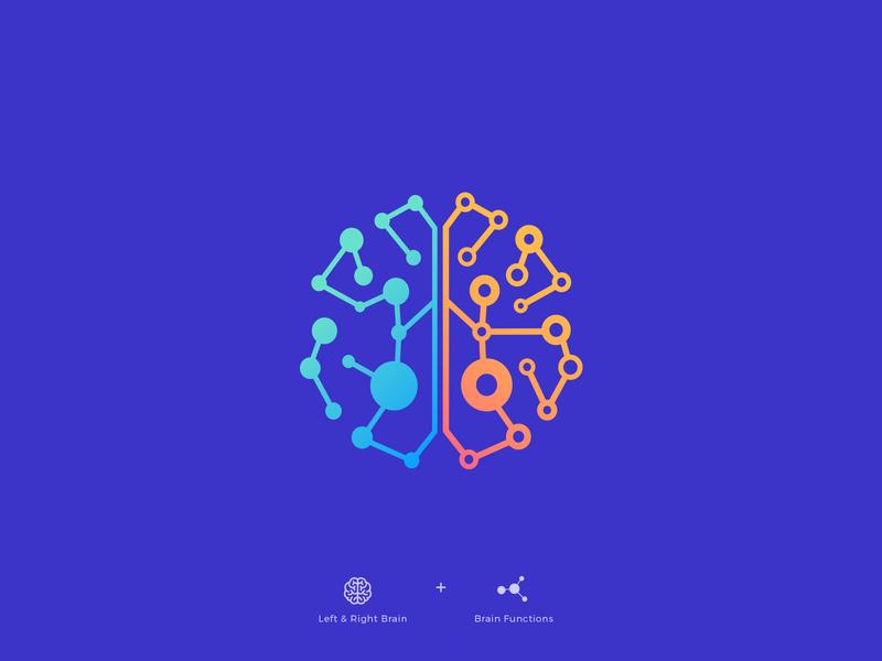 Brain brains sense intelligence genius liquid atom dots dot creative human function head branding logos logo brain right left thinking mind