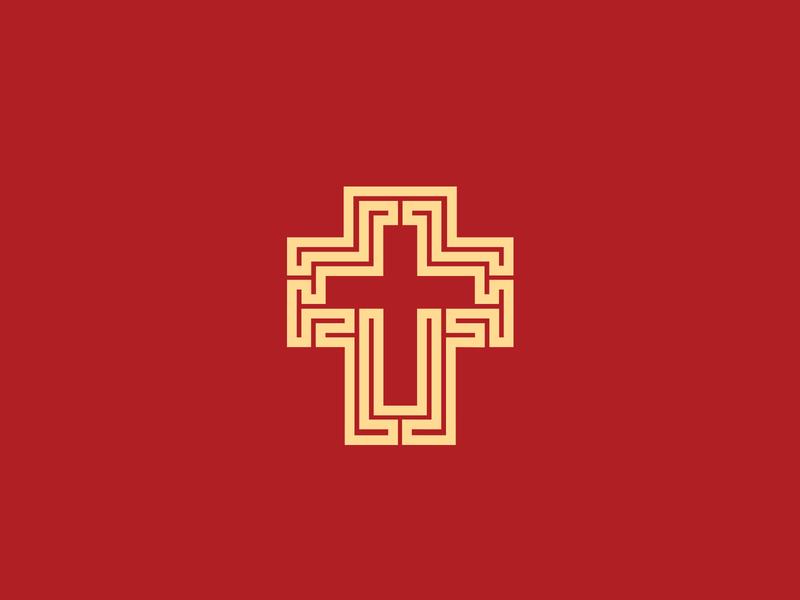 Cross symbol geometric logo design designer logo designer red gold religious religion church christian church logo cross jesus christ god icon logo brand