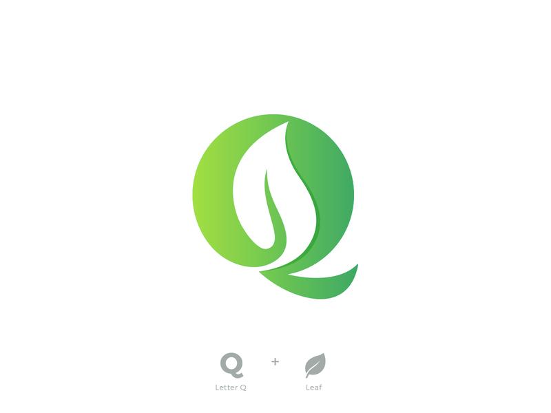 Leaf Logo negativespace whitespace organic natural plant fresh lettermark design icon logo design designer logo designers letter green eco logo designer branding leaf logo q