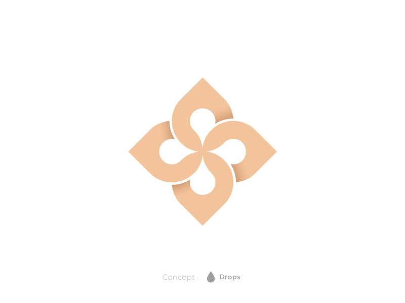 The Droplets premium floral water honey branding designer freelancer sale design logo logo designer drops blend white space negative space droplet gold elegant flower drop