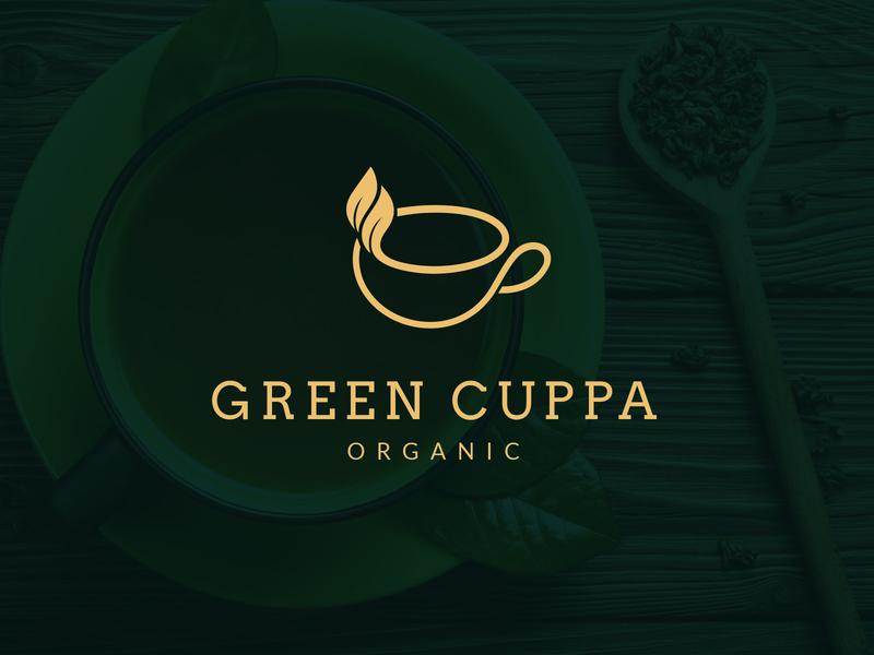 Green Tea logo design buy sale designer minimal line premium elegant breakfast logos logo designer leafs leaf bio healthy organic cup green logo tea