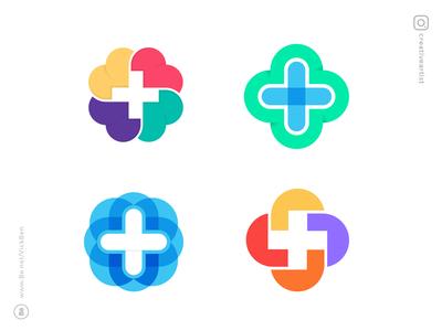 Cross-exploration symbols icons branding plus colors colorful logos love medical pharma cross minimal logo designer design icon designer logo design symbol mark logo