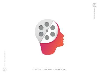 Movie Production genius think head brain studio video cinema reels logos film reel production movie colorful designer design logo design logo designer branding logo