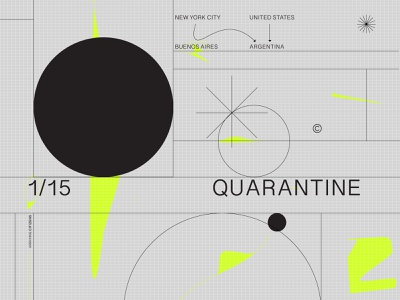 1/15 Quarantine pandemic geometry minimal quarantine coronavirus corona flat abstract clean design typography vector illustration
