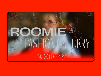 Roomie Fashion Gallery Homepage web designer art fashion gallery store desktop identity brand design typography ui interaction interface ecommerce landing homepage branding animation web design
