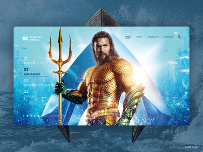 Aquaman - DC Comic Showcase landing page webpage design ux ui design app decor bold color adobe xd ui design uiux branding mockup adobe illustrator ui ux typography adobe illustration design