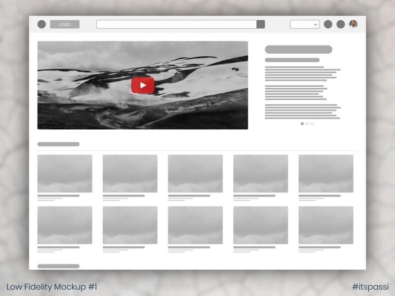 ExploreMore Video Aggregator - Low Fidelity