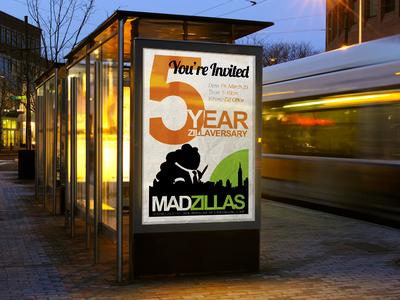 5 Year Zillaversary men post flyer mockup anniversary designzillas mad zillas five 5 years invitation