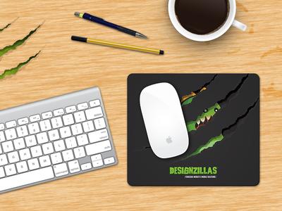 Dz Mousepad designzillas dz mousepad illustration design identity claws mark green dinosaur