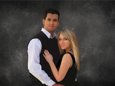 Hold On Tight couple blonde wedding painting wacom tablet traditional digital photoshop gift portrait