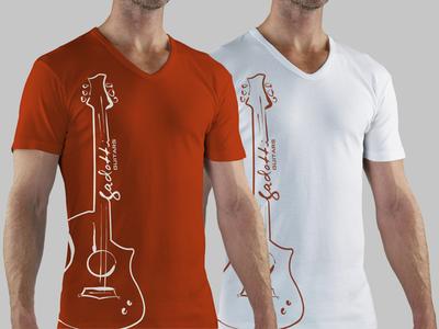 Gadotti Guitars - Shirt Design gadotti guitar shirt t-shirt logo illustration print digital identity instrument orange white model